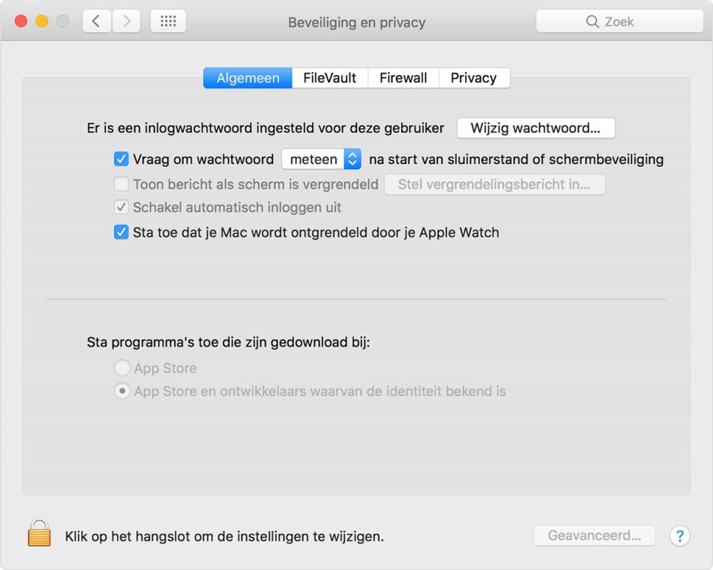 Je Mac ontgrendelen met een Apple Watch